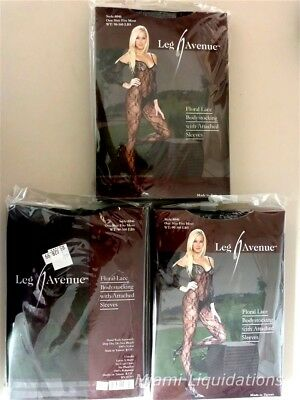 Lot of 3 Leg Avenue Floral Lace Bodystocking with Attached Sleeves Black 8046