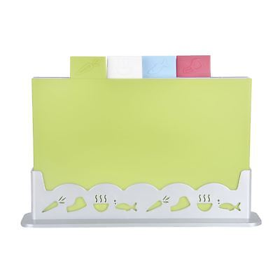 Quality 4pc Index Colour Coded Chopping Board Set / Stand For Kitchen Food Prep
