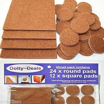 Felt Self Adhesive Pads Protects Wood Vinyl Laminate Floors Mix Pack 12SQ & 24R