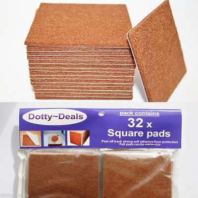 Felt Self Adhesive Pads Protects Wood Vinyl Laminate Floors Square Pack 32SQ