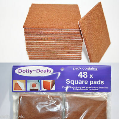 Felt Self Adhesive Pads Protects Wood Vinyl Laminate Floors Square Pack 48SQ