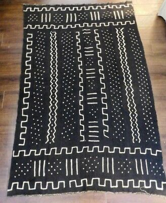 """Authentic  Mudcloth Fabric African Mali Mud Cloth Handwoven 69"""" x 45"""""""