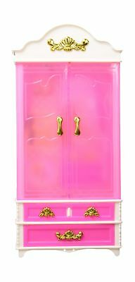 E-TING Plastic Furniture Wardrobe DollHouse Accessories for Barbie Doll, Pink