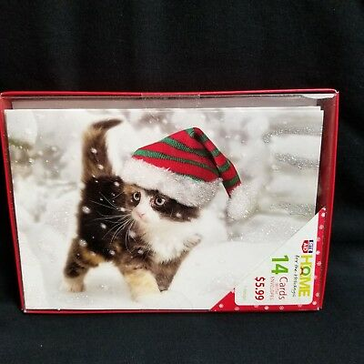 Boxed Christmas Cards Glitter Kitty Cat Walking In Snow 14 Count One Design New