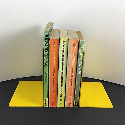 Vintage Retro Yellow Metal Library Bookends