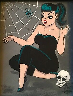 a7a7c63aa El Gato Gomez Pinup Girl Retro Print Vintage Halloween Skull Pinup Girl  Spider