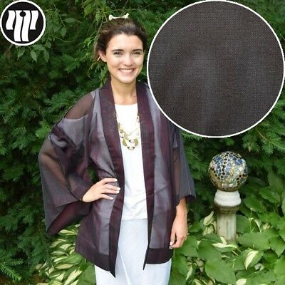 "Haori Summer Jacket Vintage Japanese Kimono Poolside Cover Up ""Wavy Effect"""