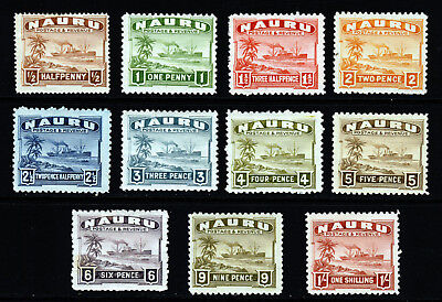 NAURU 1937-48 Shiny Paper Part Set to One Shilling SG 26B to SG 36B MINT