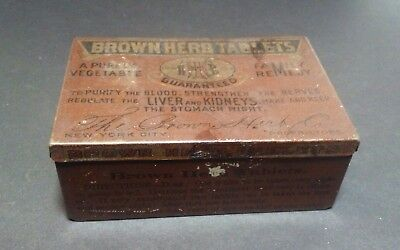 """Vintage Tin """"BROWN HERB TABLETS"""" A Pure Vegetable Family Remedy Liver & Kidney"""