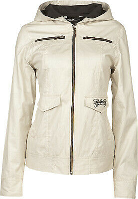 Fly Racing Ladies Waxed Ivory White Hooded Fleece Lined Casual Pit Jacket
