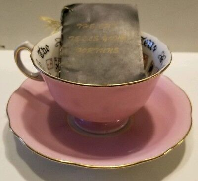 Vintage Pink Cup Of Knowledge Tells Fortune & SAUCER with Original Booklet