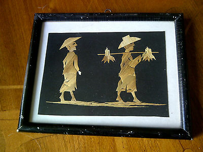 Oriental Picture Made From Straw Or Grasses . 7 Inches X 6 Inches .framed