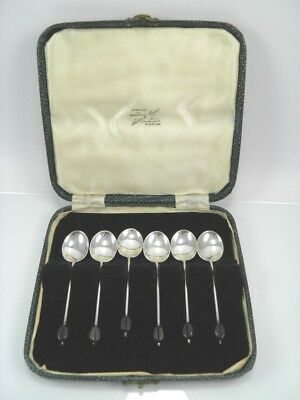 Art Deco silver coffee bean spoons 925 sterling William Suckling Birmingham 1940