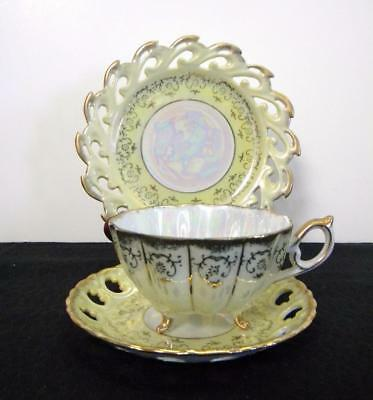 3 pc set Japan Opalescent Yellow Luster Tea Cup, Saucer & Plate w/ Gold Trim