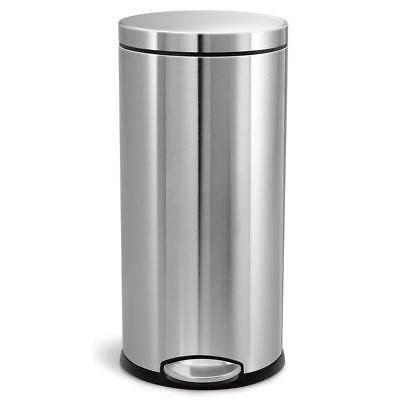Simplehuman Trash Can Fingerprint-Proof Brushed Stainless Round Steel Step-On