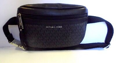 05964c6b8cb812 MICHAEL KORS FANNY Pack Nylon Belt Bag Black MK Signature Sz O/S ...