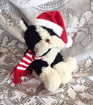 "Stuffins Floppy Christmas Boston Terrier 6 1/2"" With Scarf And Hat"