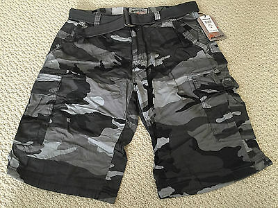 NWT Men's Ablanche City Gray Camouflage Camo Belted Cargo Shorts ALL SIZES 30-44