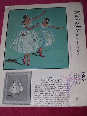 "🌹 1953 McCALL'S #1806 - BEAUTIFUL ""BALLET"" CROSS STITCH-EMBROIDERY PATTERN  FF"