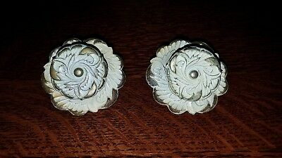 "Vintage French Provincial Knobs ""Allison"" JAPAN Gold Whitewash Pair Backplates"