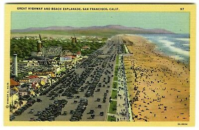 SAN FRANCISCO CLIFF HOUSE VIEW to PLAYLAND & OCEAN BEACH~VINTAGE 1930s POSTCARD