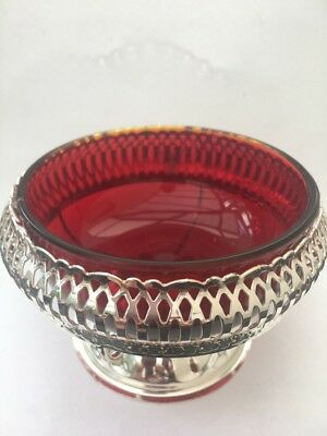 England Mayell Silver Plated Queen Anne Jam dish Red Glass
