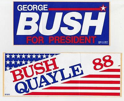 Lot of (2) VTG 1988 George Bush Presidential Campaign Bumper Stickers
