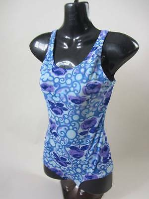 Vintage 60's blue floral swimsuit small