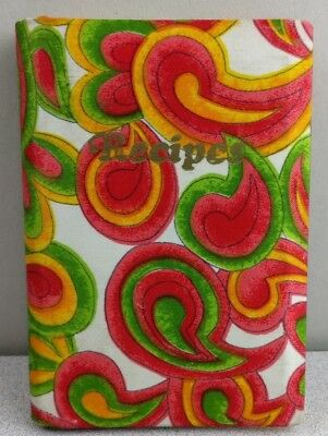 Vintage Floral Paisley 1970's Recipes Handwritten Padded Book 99% Empty Dividers