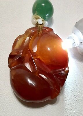 Antique Vintage Chinese Carved Carnelian With Jade Hand Knotted Necklace