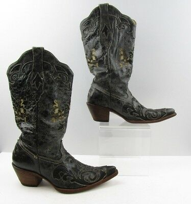 7b19e7e4fbb Ladies Corral Vintage Black Lizard Leather Distressed Western Boots Size  9  M