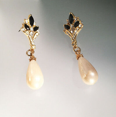 Vintage Large Natural Pearl Dangle Black Crystals & Diamonds Pierced Earrings