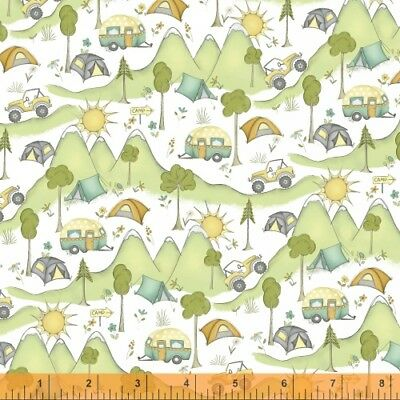 By 1/2 Yard ~ Windham Fabric Road Trippin Mountain View ~ Vacation Camping RV