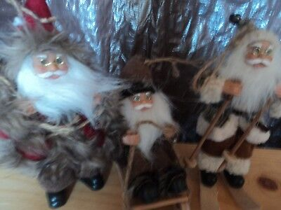 SANTA CLAUS ~ country fur figurines lot of 3