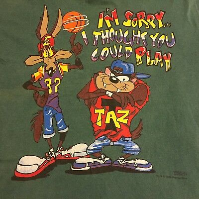 Vintage Freeze Looney Tunes Mens T-Shirt Sz XL Wile E Coyote Basketball 1995 USA