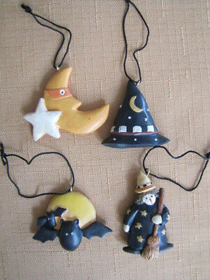 Mini Set Of Four Halloween Ornaments Resin Country Hat Witch Bat Moon