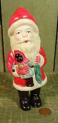 Antique Vtg Celluloid Santa Claus Holding Black Doll Christmas Toy Ornament