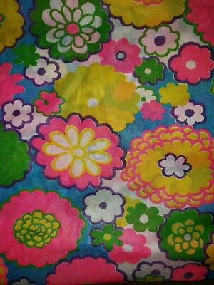 """Vtg 60s 70s MOD FLOWER POWER Fabric Hot Pink Bright Neon Colors 50"""" wide x 2.5 y"""