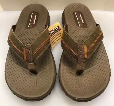 3a366aa3e7b1 Skechers Men 12 M Flip Flop Sandals Relaxed Fit Memory Foam Cobano Brown  65460