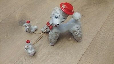 Vintage 1950s French Poodle Figurines Mother & Pups on Chain Red Hat white gold