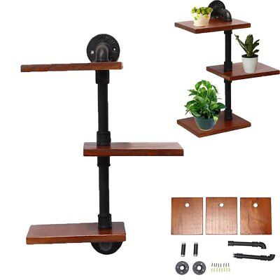 3 Tier Urban Industrial Style Chunky Wood Wall Shelf with Iron Pipe Wall Bracket