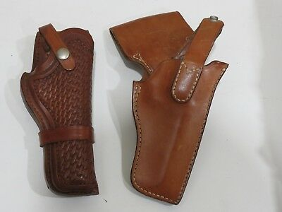 Lot of 2 Vintage Leather Pistol Holsters, Safariland & Browning