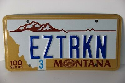 Montana License Plate personalized EZTRKN  1990's series easy trucking