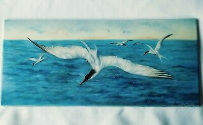 Antique Oil Painting on Porcelain Tile Seascape Terns Signed & Dated 1910 Beauty