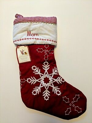Pottery Barn Kids Christmas Stocking, Quilted Collection, Snowflakes, Mom, New