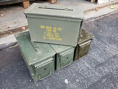 6 PACK - 50 Cal Ammo Can Box M2A1 Military Surplus Cans -Good Condition!
