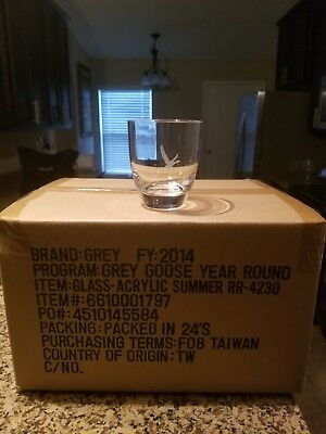 24 X NEW AUTHENTIC Grey Goose 12 ounce Acrylic Clear  Glasses. Grey Goose Logo