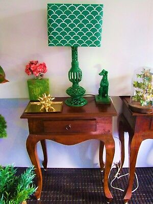 Vintage Brass Table  Lamp 1950's  with Green Custom Painted shade