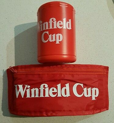 Retro Winfield stubby holder. NRL. 2 including wrap around. 1980's. Cigarette ad