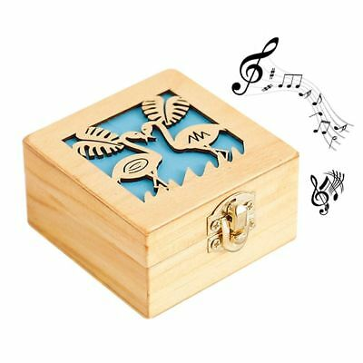 Music Box Antique Carved Hand Crank Musical Play Wooden Birthday Christmas Gifts